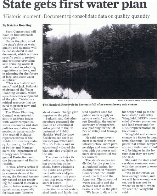 STATE WATER PLAN ARTICLE FROM FAIRFIELD CITIZEN