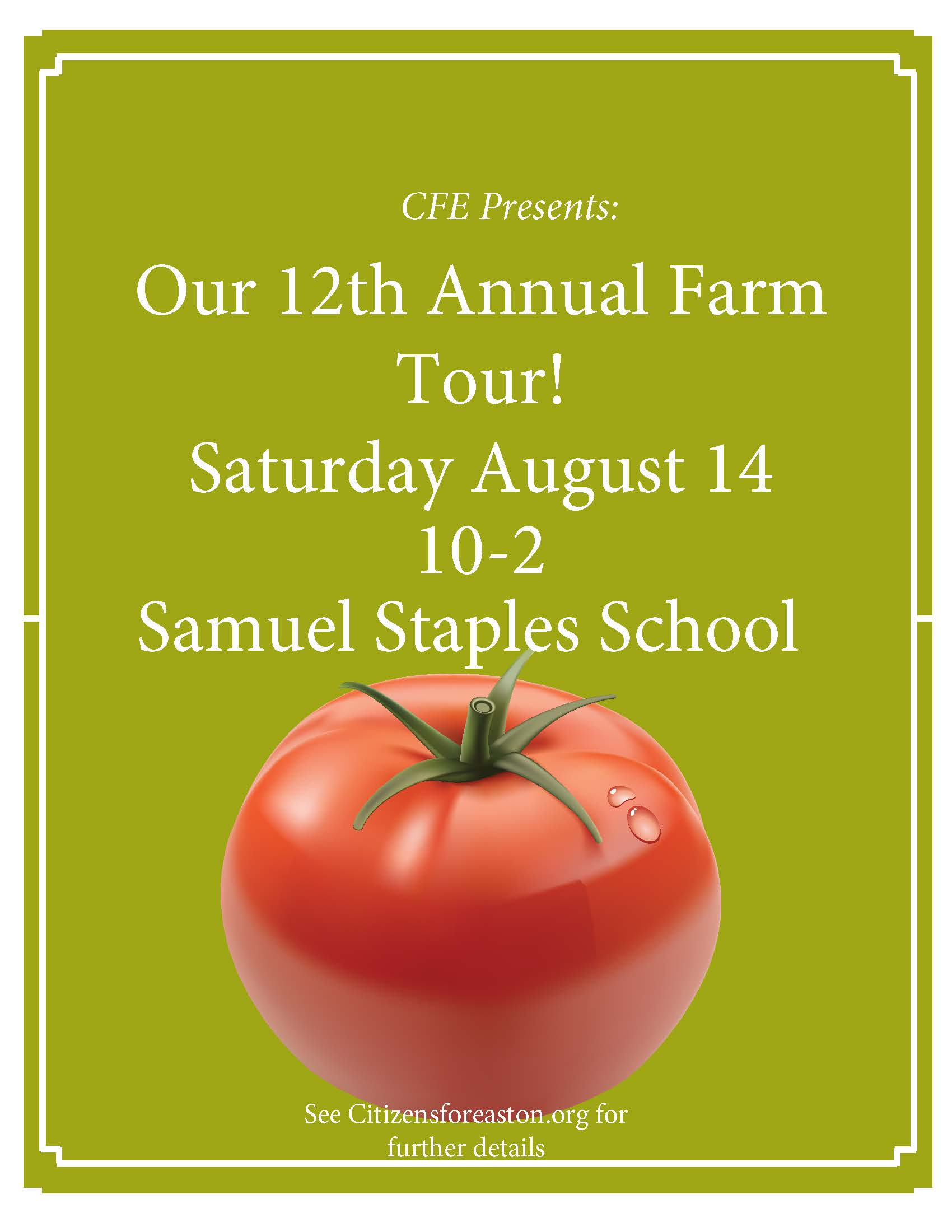 12th annual farm tour lawn sign with date